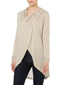 Long sleeve cowl wrap front jumper