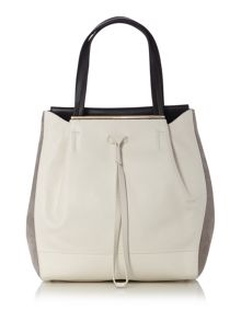 Twist monochrome drawstring tote bag