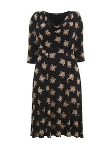 Black Floral Print Cowl Neck Dress