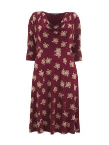 Red Floral Print Cowl Neck Dress