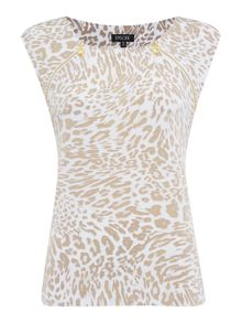 leopard print zip sleeveless top