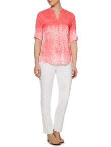 Ombre snake print blouse