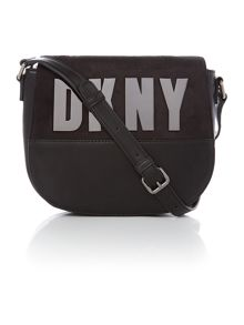 Metal letter black cross body bag