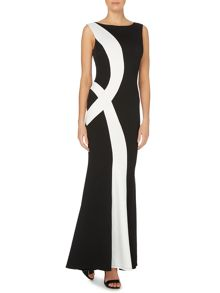 Sleeveless Bodycon Monochrome Maxi Dress