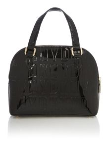 Embossed patent street black mini satchel bag