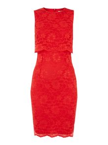 Sleeveless lace overlay bodycon dress