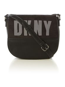 Metal letter tan cross body bag