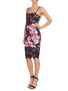 Lace trim cami floral bodycon dress