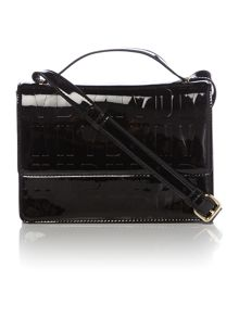 Embossed patent street black small cross body