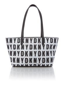 Coated logo black tote bag
