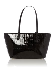 Embossed patent street black tote bag