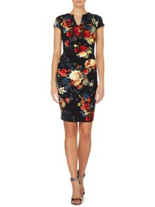 Short sleeve v neck floral print bodycon dress