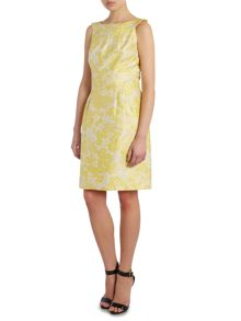 Shift dress with abstract floral pattern