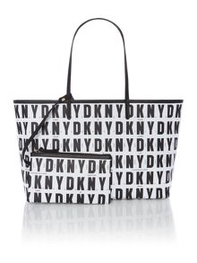 Coated logo black reversible tote bag