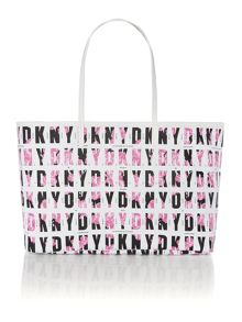 Coated logo pink reversible tote bag
