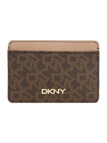 Coated logo brown card holder
