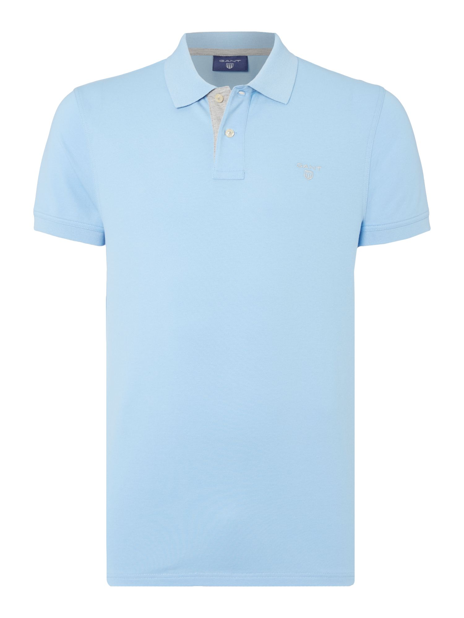 Men's Gant Contrast Collar Polo Shirt, Sky