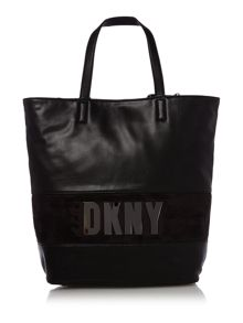 Metal letters black tote bag