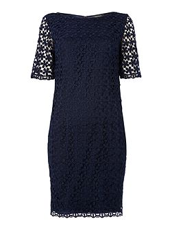Lace shift dress with 3/4 length sleeves
