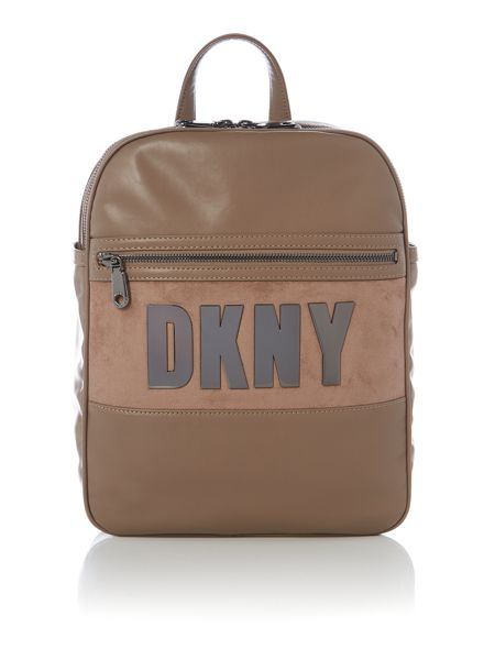 DKNY Metal letters tan backpack bag