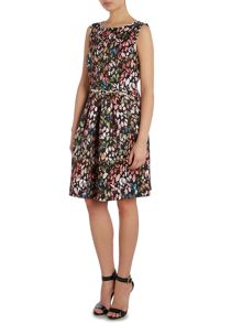 Sleeveless printed fit and flare dress