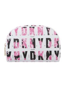 Coated logo pink round cosmetic bag