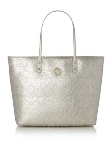 Arty silver metallic embellished tote bag