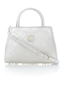 Arty silver embellished cross body bag