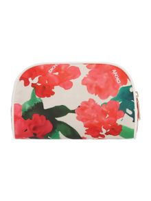 Coated logo multi-coloured round cosmetic bag