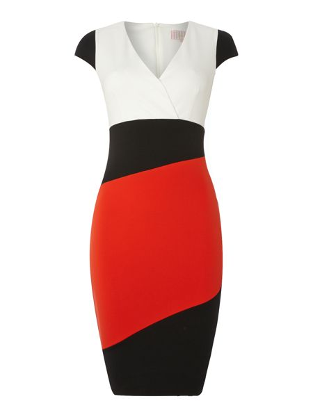 Jessica Wright Colour block cap sleeve wrap dress