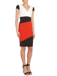 Colour block cap sleeve wrap dress