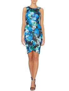 Sleeveless racer neck floral bodycon dress
