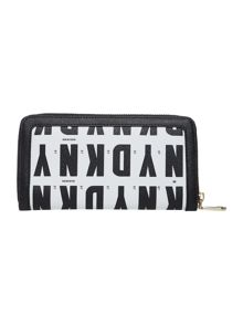 Coated logo black large zip around purse
