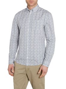 Print Long Sleeve Button Down Shirt