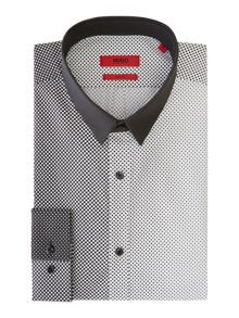 Hugo Ero3 Contrast Square Geometric Slim Fit Shirt