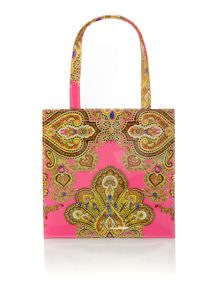 Pink small paisly bowcon tote bag