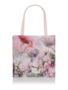 Pink small peony bowcon tote bag