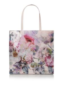 Pink large peony bowcon tote bag
