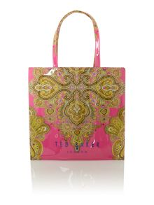 Pink large paisly bowcon tote bag