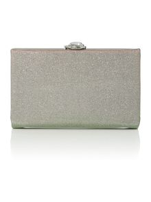 Green glitter jaquard hard case clutch bag