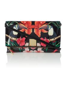Black toucan cross body clutch bag