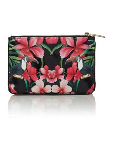 Black toucan patent cross body bag