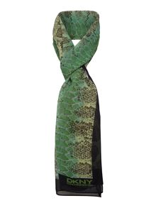 Lizard Print Silk long Scarf