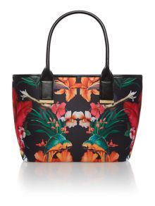 Black large print neoprene shopper