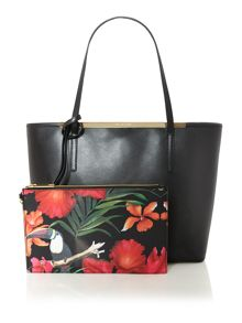 Black printed lining tote bag with pouchette