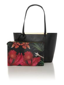 Black printed small tote bag with pouchette