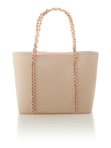 Taupe chain zip purse small tote bag