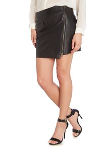 Y.A.S. zip front leather skirt