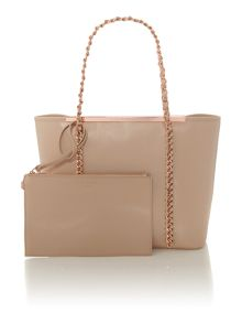 Taupe chain zip purse tote bag