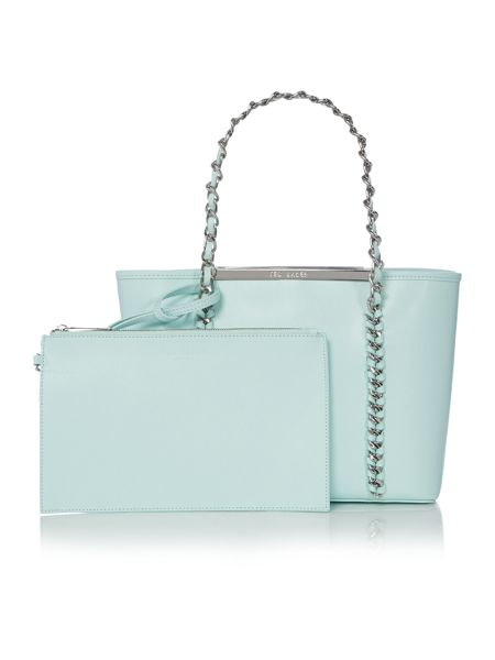 Ted Baker Green chain zip purse small tote bag